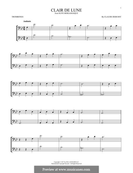 No.3 Clair de lune: For two trombones by Claude Debussy