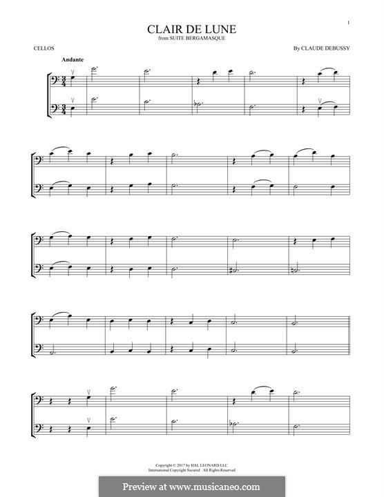 No.3 Clair de lune: para dois violinos by Claude Debussy