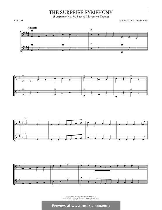 Movement II: Theme, for two violins by Joseph Haydn