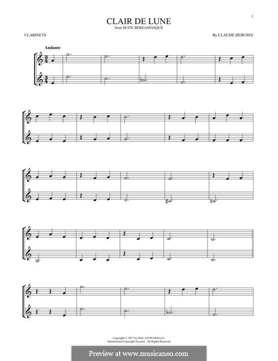 No.3 Clair de lune: para duas clarinetas by Claude Debussy
