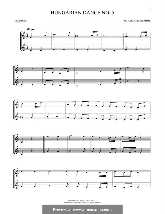 Dance No.5 in F Sharp Minor (Printable scores): For two trumpets by Johannes Brahms