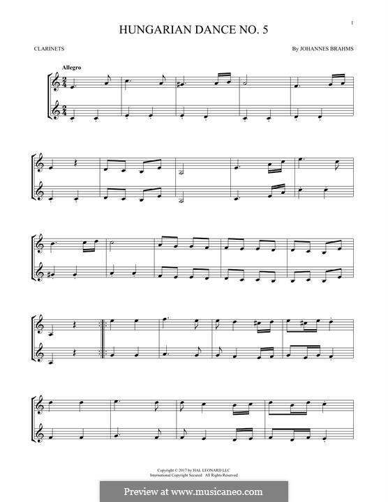 Dance No.5 in F Sharp Minor (Printable scores): para duas clarinetas by Johannes Brahms