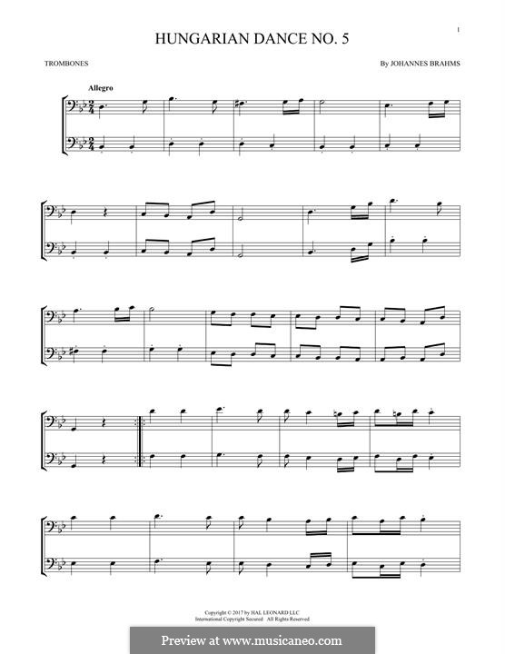Dance No.5 in F Sharp Minor (Printable scores): For two trombones by Johannes Brahms