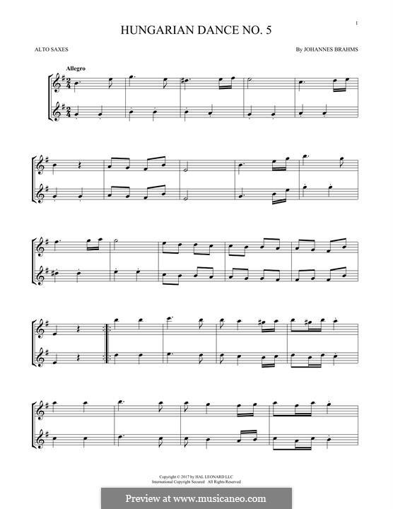 Dance No.5 in F Sharp Minor (Printable scores): para dois alto saxophones by Johannes Brahms