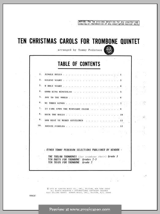 Ten Christmas Carols for Trombone Quintet: Bass trombone part by Georg Friedrich Händel, folklore, Franz Xaver Gruber, John Francis Wade, James Lord Pierpont, John H. Hopkins Jr.