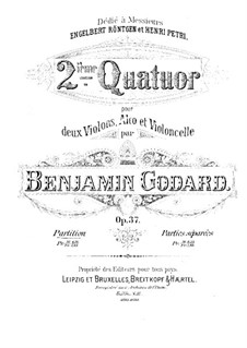 String Quartet No.2 in A Major, Op.37: Partitura completa by Benjamin Godard