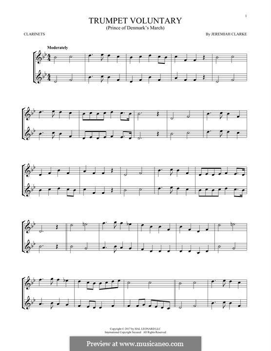 Prince of Denmark's March: para duas clarinetas by Jeremiah Clarke