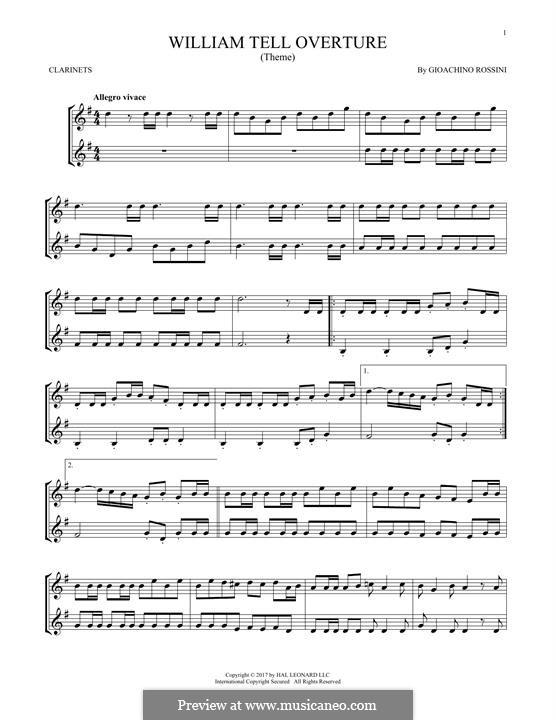 Overture (Printable Scores): para duas clarinetas by Gioacchino Rossini