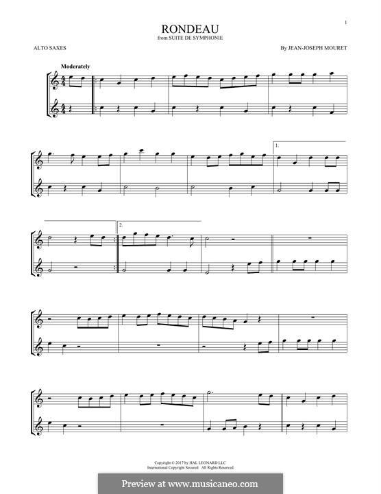 Fanfare Rondeau: Theme, for two alto saxophones by Jean-Joseph Mouret