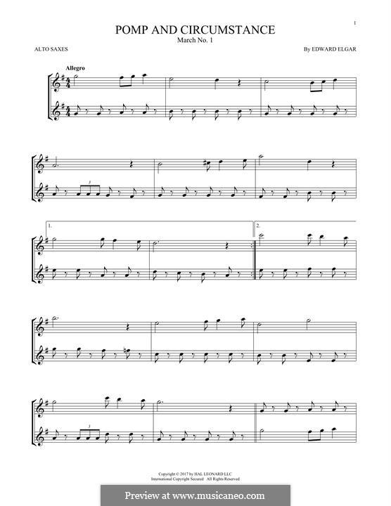 March No.1: Trio, for two alto saxophones by Edward Elgar