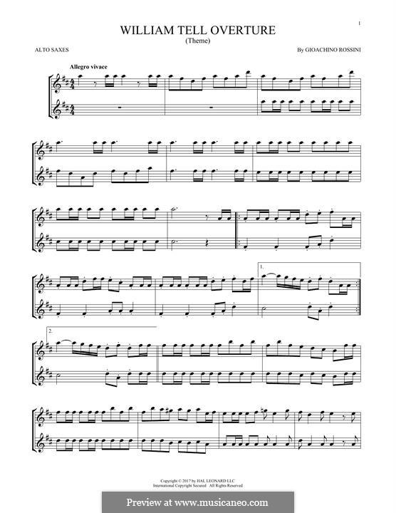 Overture (Printable Scores): para dois alto saxophones by Gioacchino Rossini