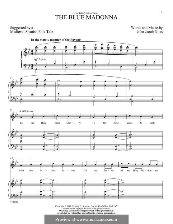 The Blue Madonna: Para vocais e piano by John Jacob Niles