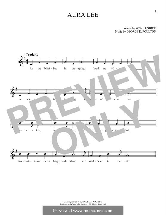 Aura Lee: melodia by George R. Poulton