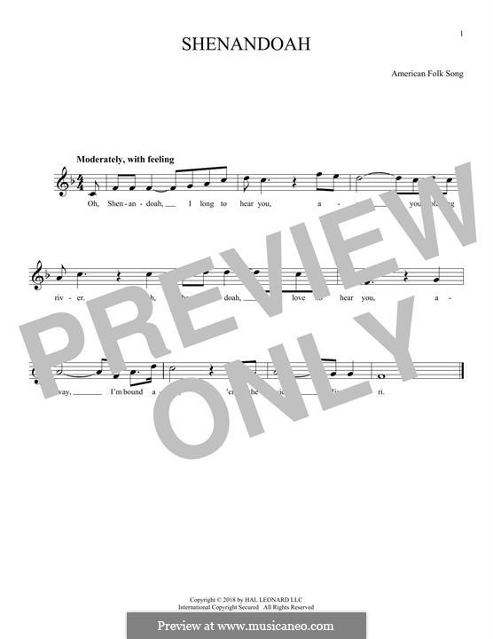 Shenandoah: melodia by folklore