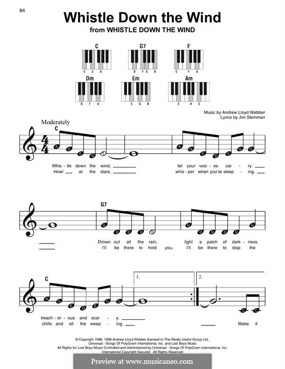 Whistle Down the Wind (from Whistle Down the Wind): For easy piano with lyrics by Andrew Lloyd Webber