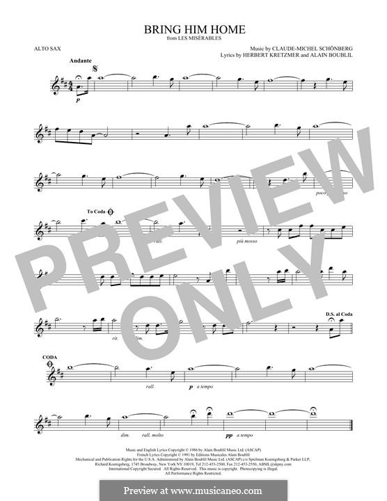 Bring Him Home: para Saxofone Alto by Claude-Michel Schönberg