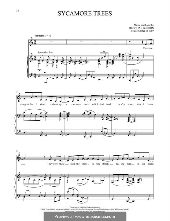 Sycamore Trees: Para vocais e piano by Ricky Ian Gordon