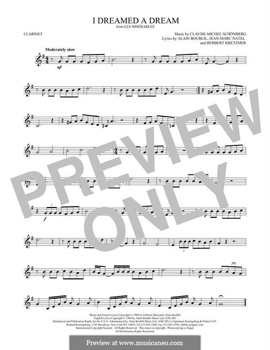 I Dreamed a Dream: para clarinete by Claude-Michel Schönberg