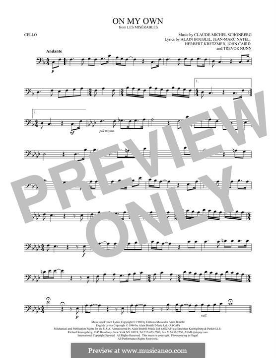On My Own: para violoncelo by Claude-Michel Schönberg