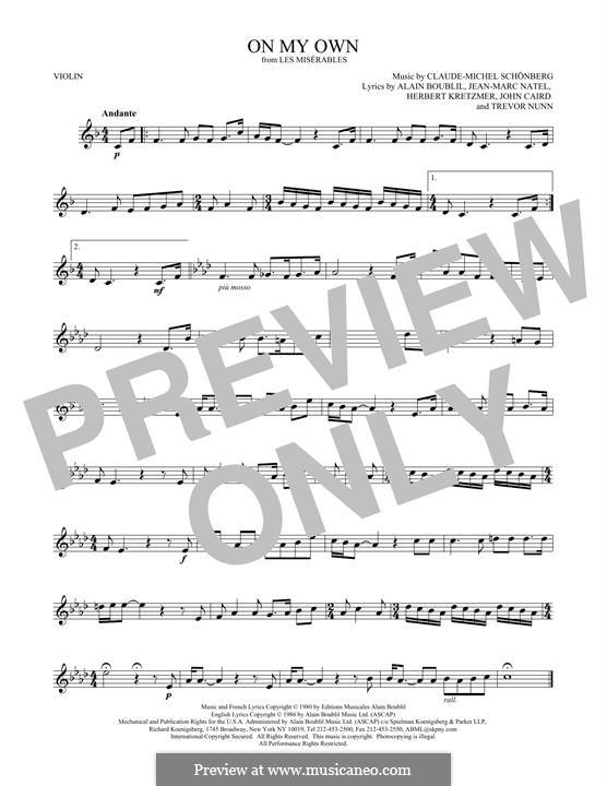 On My Own: para violino by Claude-Michel Schönberg
