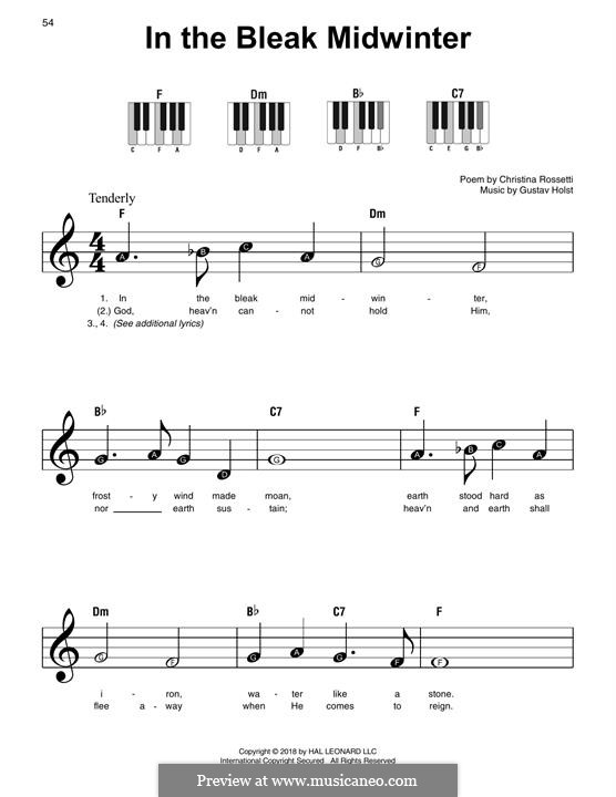 In the Bleak Midwinter: Facil para o piano by Gustav Holst