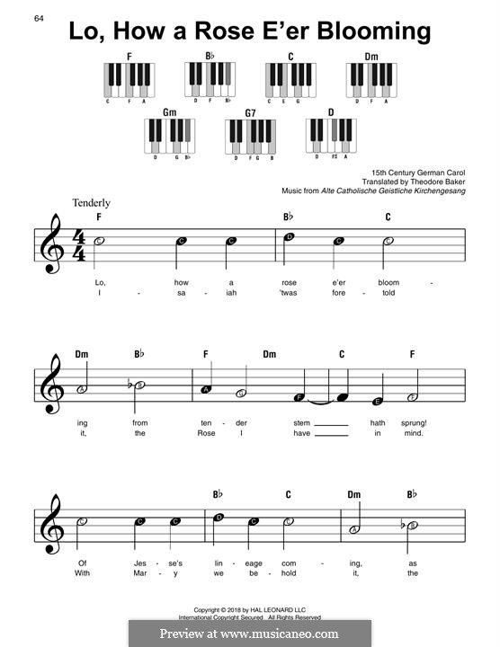 Lo, How a Rose E'er Blooming: Facil para o piano by folklore