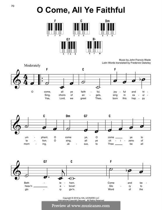 O Come All Ye Faithful, for Piano: Versão Facil by John Francis Wade