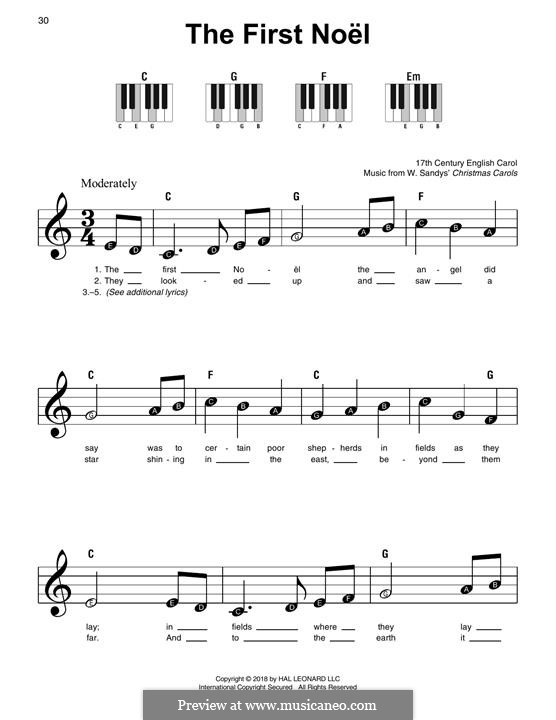 The First Nowell (The First Noël), for Piano: Versão Facil by folklore