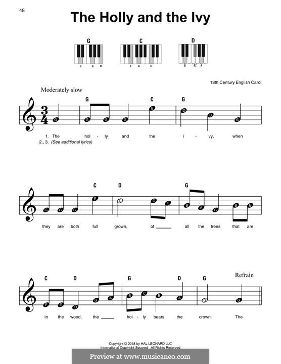 The Holly and the Ivy, for Piano: Versão Facil by folklore