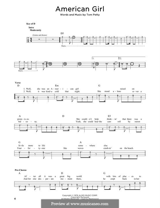 American Girl: For bass voice by Tom Petty