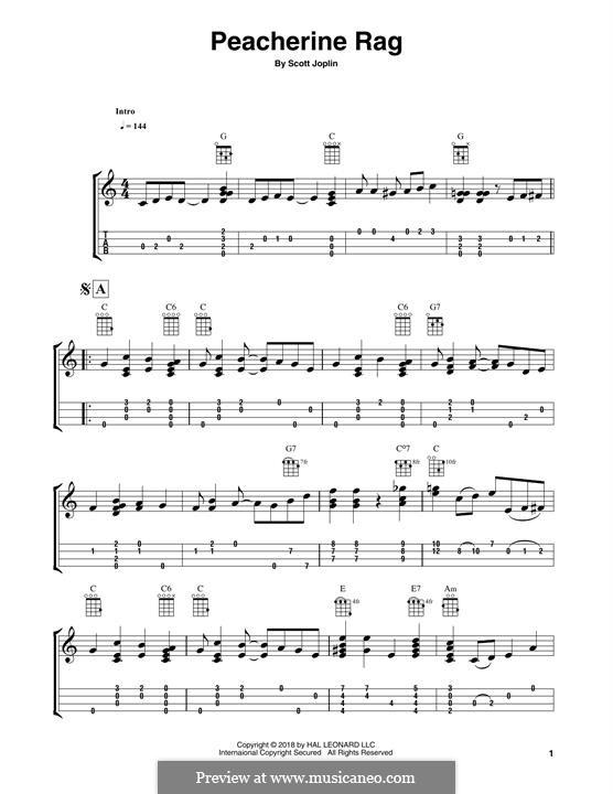 Peacherine Rag: For ukulele (Fred Sokolow) by Scott Joplin