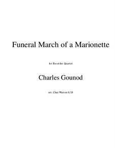Funeral March of Marionette: Para quarteto gravado by Charles Gounod