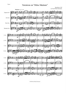 Variations on 'Hélas, Madame': para quarteto de saxofone by Henry VIII