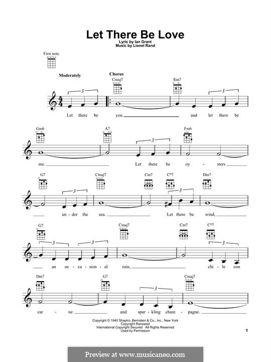 Let There Be Love (Nat 'King' Cole): para ukulele by Lionel Rand