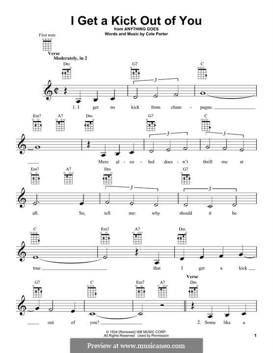 I Get a Kick Out of You (Frank Sinatra): para ukulele by Cole Porter