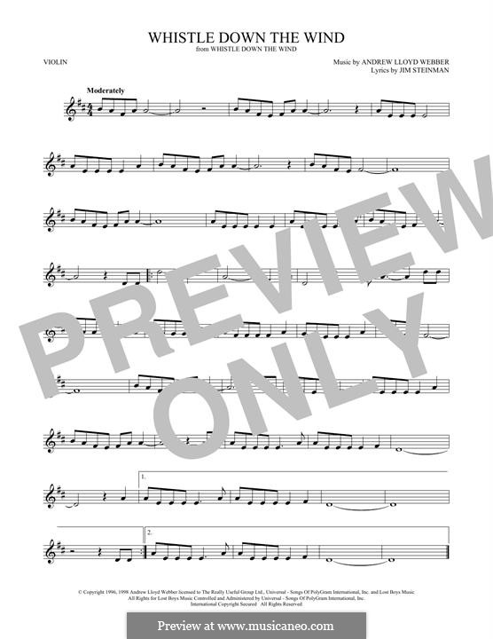 Whistle Down the Wind (from Whistle Down the Wind): para violino by Andrew Lloyd Webber