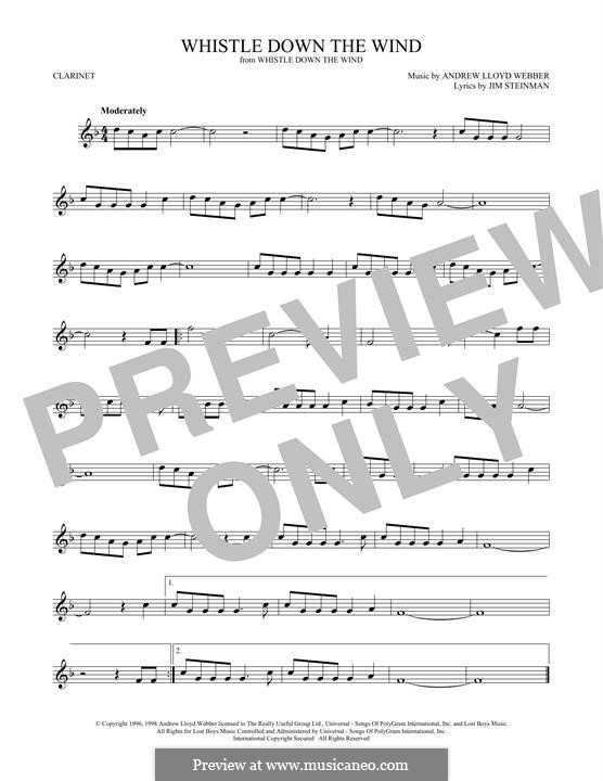Whistle Down the Wind (from Whistle Down the Wind): para clarinete by Andrew Lloyd Webber