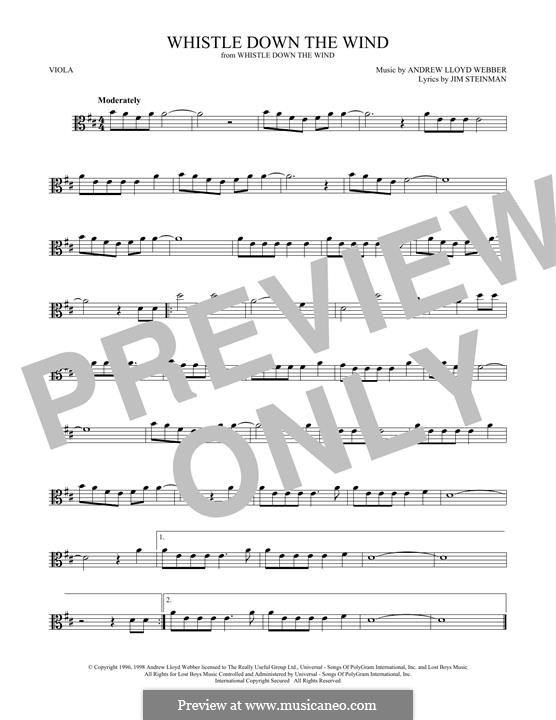 Whistle Down the Wind (from Whistle Down the Wind): para viola by Andrew Lloyd Webber