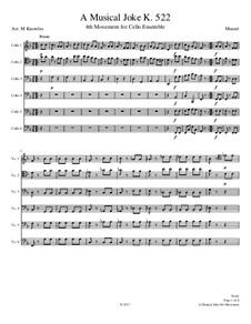 A Musical Joke, K.522: Presto, for cello ensemble by Wolfgang Amadeus Mozart