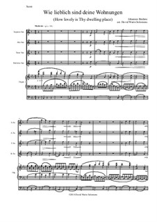 A German Requiem, Op.45: Movement IV, for saxophone quartet and organ by Johannes Brahms