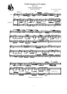 Sonata in G major for Violin and Harpsichord (or Piano), BWV 1021: Sonata in G major for Violin and Harpsichord (or Piano) by Johann Sebastian Bach