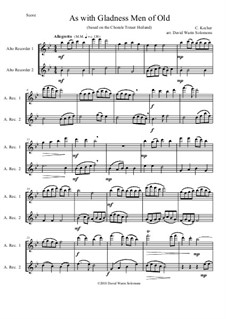 As with Gladness Men of Old: Variations, for alto recorder duo by Conrad Kocher