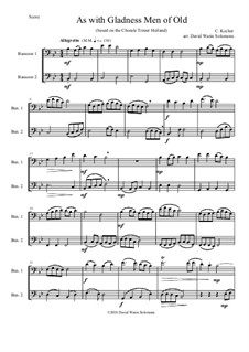 As with Gladness Men of Old: Variations, for bassoon duo by Conrad Kocher