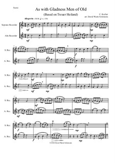 As with Gladness Men of Old: Variations, for soprano and alto recorder by Conrad Kocher