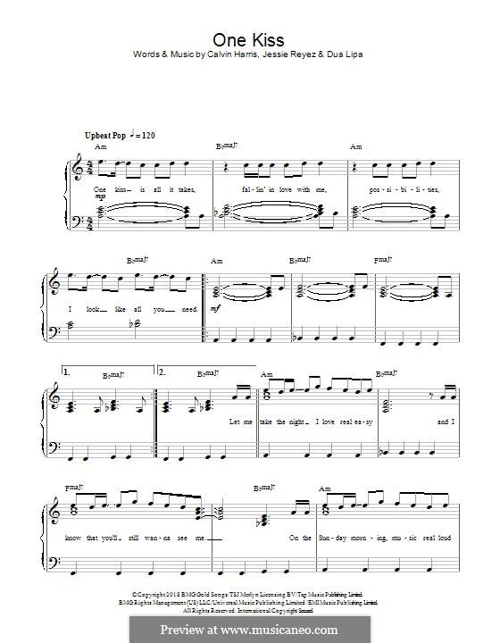 One Kiss (Calvin Harris & Dua Lipa): Para Piano by Calvin Harris, Dua Lipa, Jessie Reyez