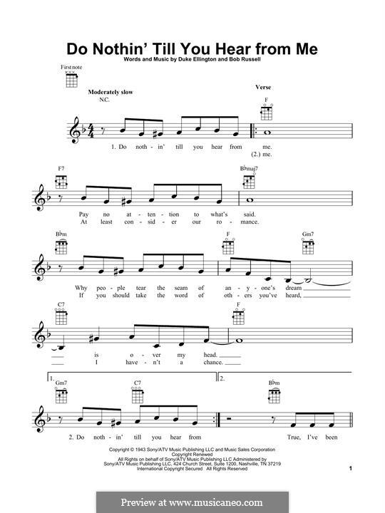 Do Nothin' Till You Hear from Me: para ukulele by Duke Ellington