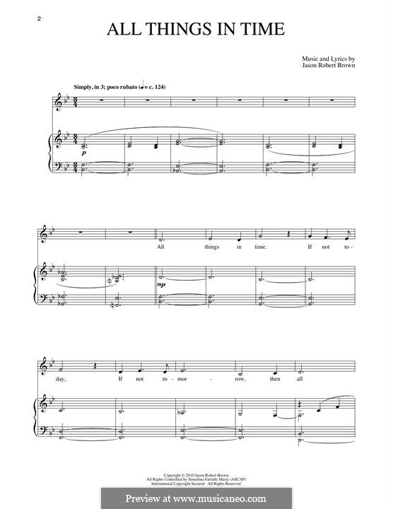 All Things in Time: Para vocais e piano by Jason Robert Brown