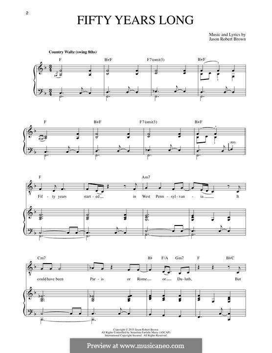 Fifty Years Long: Para vocais e piano by Jason Robert Brown
