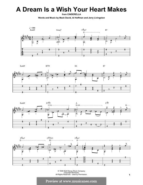 A Dream Is a Wish Your Heart Makes (from Disney's Cinderella): Para guitarra com guia by Al Hoffman, Jerry Livingston, Mack David