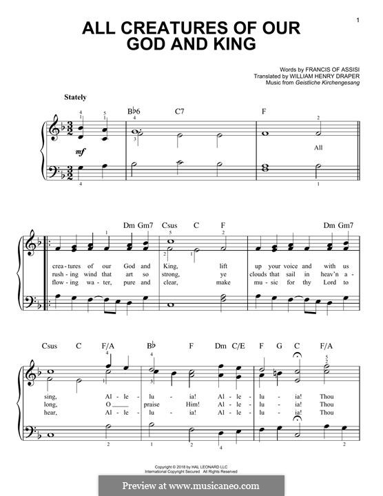 All Creatures of Our God and King: Para Piano by Unknown (works before 1850)